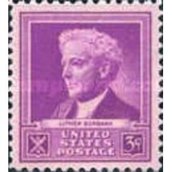 1 عدد تمبر یادبود مشاهیر آمریکا - لوتر بوربانک - دانشمند  - آمریکا 1940