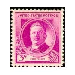 1 عدد تمبر یادبود مشاهیر آمریکا - ویکتور هربرت - آهنگساز  - آمریکا 1940