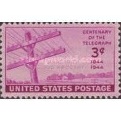 1 عدد تمبر صدمین سالگرد اولین پیام ارسال شده توسط تلگراف - آمریکا 1944