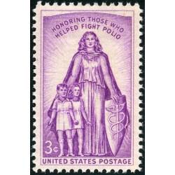 1 عدد تمبر مبارزه با فلج اطفال - آمریکا 1957