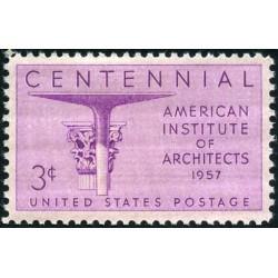 1 عدد تمبر صدمین سال انستیتو آمریکائی معماران - آمریکا 1957