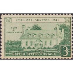 1 عدد تمبر تالار گانستون - ویرجینیا - آمریکا 1958