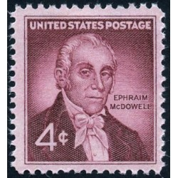 1 عدد تمبر یادبود دکتر افرایم مکداول - پیشتاز جراحی - آمریکا 1959
