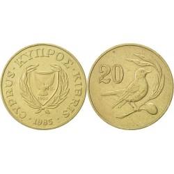 سکه 20 سنت - نیکل برنج - قبرس 1985 غیر بانکی