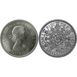 سکه 2 شیلینگ - نیکل مس - انگلیس 1961 غیر بانکی