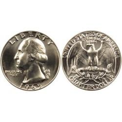 سکه 25 سنت - کوارتر - نیکل مس - تصویر جرج واشنگتن  - آمریکا 1965 غیر بانکی