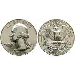 سکه 25 سنت - کوارتر - نیکل مس - تصویر جرج واشنگتن - آمریکا 1986 غیر بانکی
