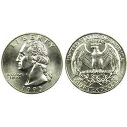 سکه 25 سنت - کوارتر - نیکل مس - تصویر جرج واشنگتن - آمریکا 1995 غیر بانکی