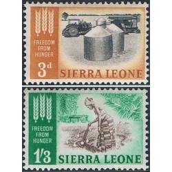 2 عدد تمبر نجات از گرسنگی - سیرالئون 1963