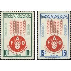2 عدد تمبر نجات از گرسنگی - پست هوائی - پاناما 1963