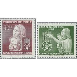 2 عدد تمبر نجات از گرسنگی  - شیلی 1963
