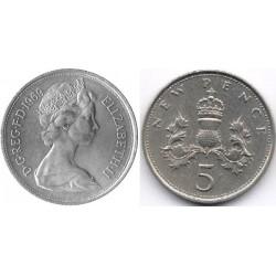 سکه 5 پنس نیکل مس - انگلیس 1969 غیر بانکی