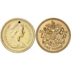سکه  1 پوند - نیکل برنج - انگلیس 1983 غیر بانکی - دارای یک سوراخ در بالا