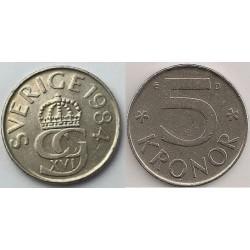 سکه 5 کرون - نیکل مس - سوئد 1984 غیر بانکی