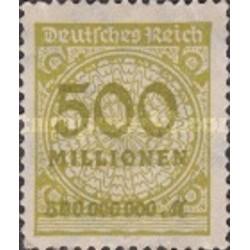 1 عدد تمبر سری پستی -سورشارژ 500 میلیون مارک زیتونی - رایش آلمان 1923 با شارنیه