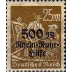 1 عدد تمبر سری پستی خیریه رین روهر -سورشارژ 500 مارک - رایش آلمان 1923