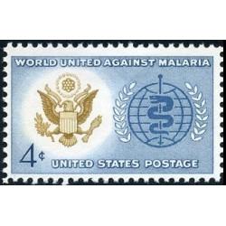 1 عدد تمبر ریشه کنی مالاریا -  آمریکا 1962