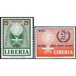 2 عدد تمبر ریشه کنی مالاریا - لیبریا 1962