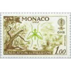 1 عدد تمبر ریشه کنی مالاریا - موناکو 1962