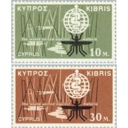 2 عدد تمبر ریشه کنی مالاریا - قبرس 1962