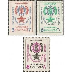 3 عدد تمبر ریشه کنی مالاریا  - عربستان 1962