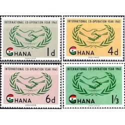 4 عدد تمبر سال همکاری بین المللی - غنا 1965