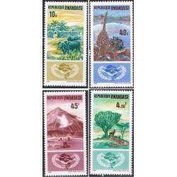 4 عدد تمبر سال همکاری بین المللی - رواندا 1965