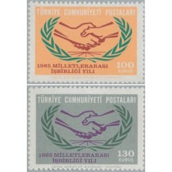 2 عدد تمبر سال همکاری بین المللی - ترکیه 1965