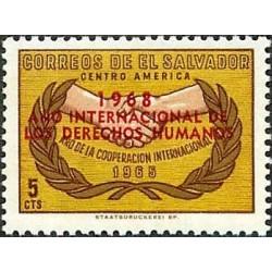 1 عدد تمبر سال حقوق بشر - سورشارژ روی تمبر همکاری - السالوادور 1968