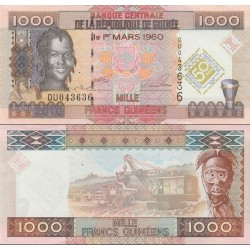 اسکناس 1000 فرانک - یادبود 50مین سالگرد بانک مرکزی و پول گینه - گینه 2010 پرفیکس همسطح ارقام سریال