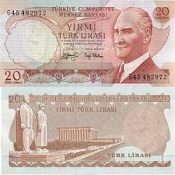 اسکناس 20 لیر ترکیه 1974 تک