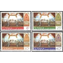 4 عدد تمبر عید پاک - تابلو نقاشی - گویانا 1969