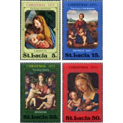 4 عدد تمبر کریستمس - تابلو نقاشی - سنت لوئیس 1973
