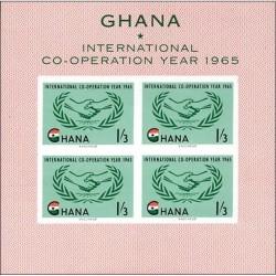 مینی شیت بیدندانه  تمبر سال بین المللی همکاری  - غنا 1965