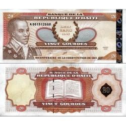 اسکناس 20گورد - هائیتی 2001 بدون زواید حروف سریال