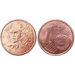 سکه 1 سنت یورو - مس روکش فولاد - فرانسه 2011 غیر بانکی