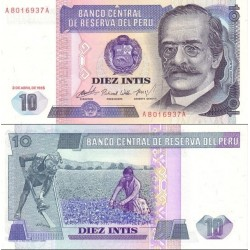 اسکناس 10 اینتیس - پرو 1985