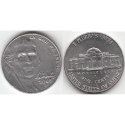 سکه 5 سنت - نیکل مس - آمریکا 2008 غیر بانکی