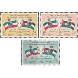 3 عدد تمبر  بازدید شاه ایران از اردن  - اردن 1960