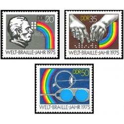 3 عدد تمبر 150مین سالگرد خط بریل - جمهوری دموکراتیک آلمان 1975