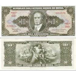 اسکناس 10 سنتاوو  - سورشارژ - برزیل 1967 با املای صحیح Ministro