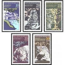 5 عدد تمبر آثار طبیعت - جمهوری دموکراتیک آلمان 1977