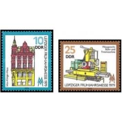 2 عدد تمبر نمایشگاه بهاره لایپزیک - جمهوری دموکراتیک آلمان 1979