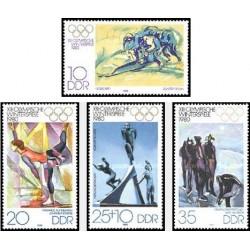4 عدد تمبر بازیهای المپیک زمستانی لیک پلاسید - نیویورک - جمهوری دموکراتیک آلمان 1980