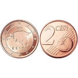 سکه 2 سنت یورو - مس روکش فولاد - استونی 2011 غیر بانکی