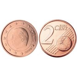 سکه 2 سنت یورو - مس روکش فولاد - بلژیک 2000 غیر بانکی