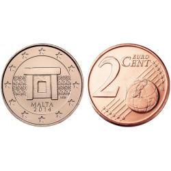 سکه 2 سنت یورو - مس روکش فولاد - مالت 2013 غیر بانکی