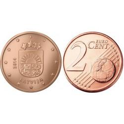 سکه 2 سنت یورو - مس روکش فولاد - لتونی 2014 غیر بانکی