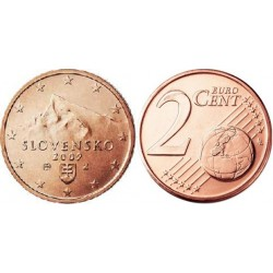 سکه 2 سنت یورو - مس روکش فولاد - اسلواکی 2009 غیر بانکی