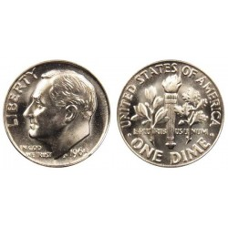 سکه 10 سنت - نیکل مس - آمریکا 1965 غیر بانکی